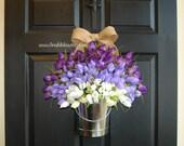 spring wreath summer wreaths purple tulips front door wreaths floral container front door decor flowers in vase floral container