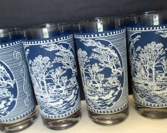 Currier and Ives Royal China Old Grist Mill Pattern - Frosted Tumblers Holiday Glasses Blue and White - Set of 4
