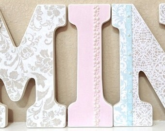 Wooden Nursery Letters - Baby Girl Nursery Decor- Wall Letters, pink, green, yellow, blue, Personalized Baby Shower Gift-The Rugged Pearl