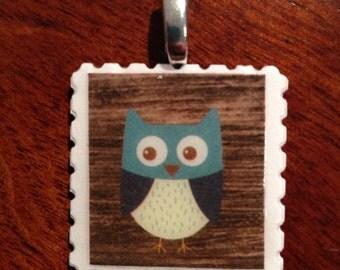 unique Owl postage stamp pendants