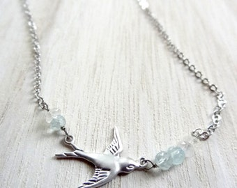 Silver bird Aquamarine Moonstone gemstone beaded handmade necklace pendant jewelry