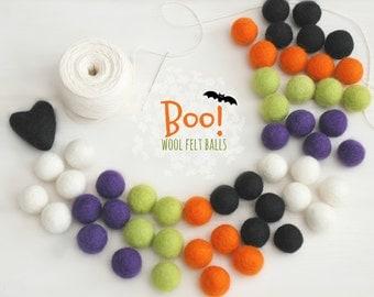 Halloween Felt Balls  - 100% Wool Felt Balls - 50 Wool Felt Balls - 2cm Felt Balls - Halloween Garland - Halloween Pom Poms - Halloween Fun