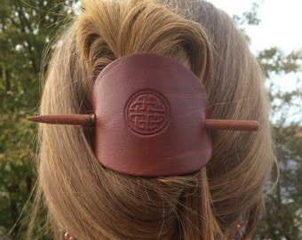 Celtic Leather Hair Stick, Large Leather Stick Barrette, Hair Slide, Big Leather Hair Accessory