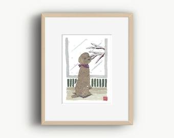 Poodle, Red Poodle, Poodle Gifts, Poodle Illustration, Poodles, Ready to Frame
