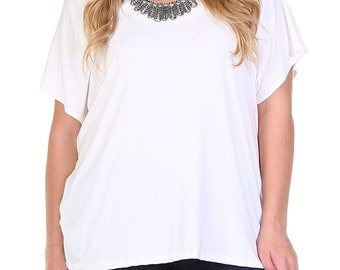 PLUS SIZE: Short Sleeve Top with Front Embellish