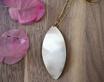 leaf necklace /// large sterling silver leaf pendant /// long layering mixed metal necklace