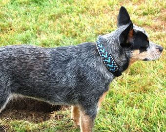 Custom Chevron Sinnet Wide Paracord Dog Collar, Choose Your Colors & Closure Type, Custom Wide 4 Color Dog Collar, Strong Sight Hound Collar