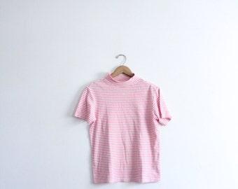 Pink Striped 90s Mock Turtleneck Tee