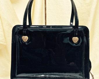 Vintage 1950s Black Patent Leather Theodor of California  Handbag~