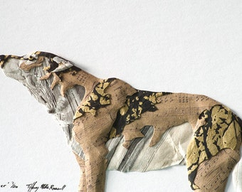 Framed Wolf Paper Sculpture - 'Stargazer' - Custom made to order Limited Edition by Artist Tiffany Miller Russell