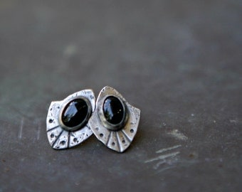 Black Onyx Stud Earrings - Edgy Earrings - Gemstone Earrings - Onyx Jewelry - Gifts For Her - Sterling Silver Posts - Rustic Silver Earrings