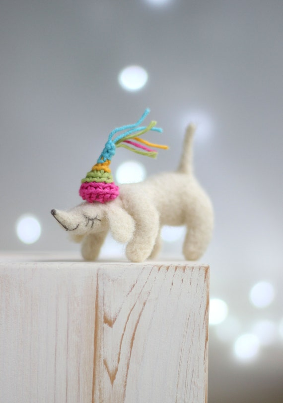 Needle Felt Dachshund - Dreamy White Dachshund With A Crazy Hat - Needle Felted Dog - Needle Felted  Art Doll - Needle Felt Dog - Gift Idea