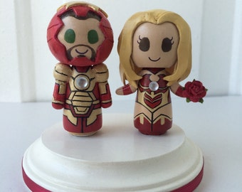 Iron Man 3 Themed Wedding Cake Topper w/ customizable Bride and Groom! Made to Order!