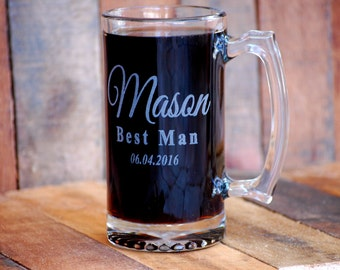 Wedding Beer Mugs Personalized Groomsmen Gifts Customized Beer Mug Glass Groomsmen Glass Beer Mugs Customized Groomsmen Gifts for Him Men