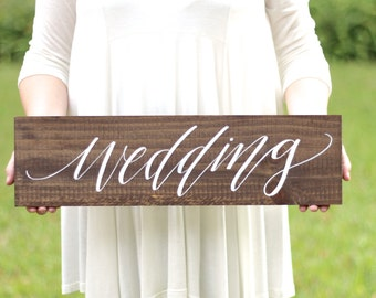 Rustic Wedding Sign, Wedding Directional Sign with Stake, Ceremony Reception Sign, Outdoor Wedding Sign | The Paper Walrus