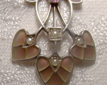 Pforzheim Germany Silver Plique-a-Jour Enamel Arts and Crafts Necklace 1900 1910