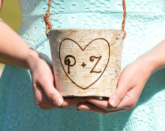 personalized flower girl basket, birch flower girl bucket, rustic wedding decor, shabby chic wedding