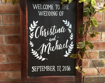 Wedding Chalkboard Easel • Chalkboard Sign • Wedding Welcome Sign Easel • Fall Wedding Signs • Winter Wedding Decor