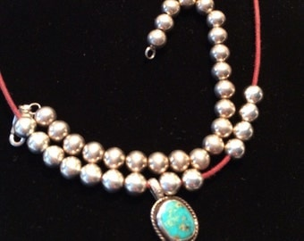 Vintage Sterling silver southwest turquoise necklace  and matching  bracelet