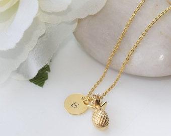 Gold Pineapple Necklace, Personalized Gold Necklace,  Gold Jewelry