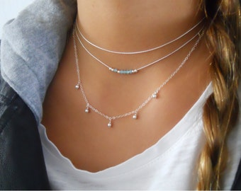 Sterling Silver Necklaces Set, Silver Choker With Beads, Silver Charms Necklace,  Dainty Sterling Silver Layered Necklace Set, #503