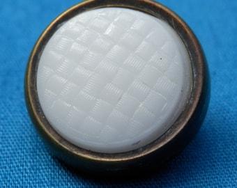Vintage Milkglass In Brass Button