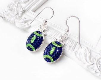 Seattle Seahawks Swarovski Crystal Football Earrings, Navy Blue and Lime Green Seahawks Earrings, Crystal Seahawks Jewelry
