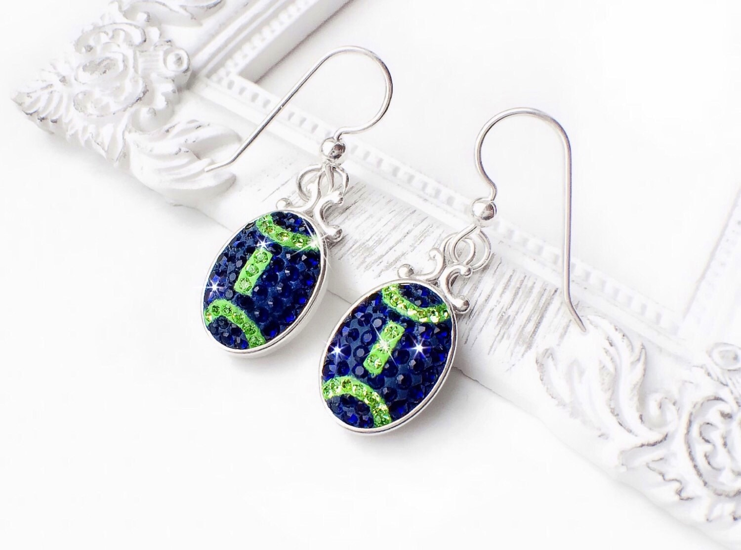 seahawks jewelry seattle seahawks swarovski football earrings navy 9586
