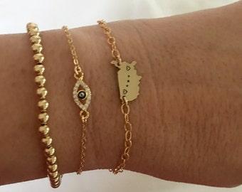 Gold CZ Evil Eye Bracelet, Rose Gold  Evil Eye Bracelet, Gold CZ Evil Eye Bracelet, Good Luck Bracelet, Graduation Gift, Hamsa