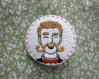 Moustache Man (1) Embroidered Brooch / Pin Badge