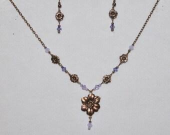 Flower Necklace Earring Set Copper Woodland #400