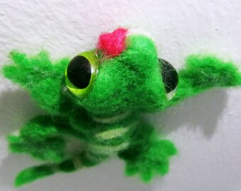 Green Needle Felted Gecko lizard