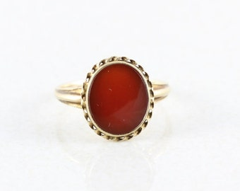 10k Solid Yellow Gold Carnelian Ring Antique Ring Victorian Ring Size 7