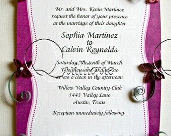 Wedding Gift / Framed & Quilled Wedding Invitation / Bridal Gift / Unique Gift / Quilled Art / Paper Quilling / Couple's Gift /Pink - BAILEY