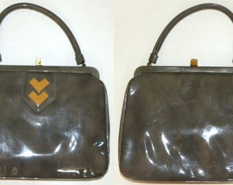 1950s 60's Purse / Crown Lewis / Swanky / Patent / Handbag / classic / gray marbled vinyl / gold accents / Vintage 1960s 50s