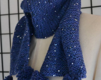 Hand Knit Scarf: Starry Night, Midnight Blue Alpaca with Sequins