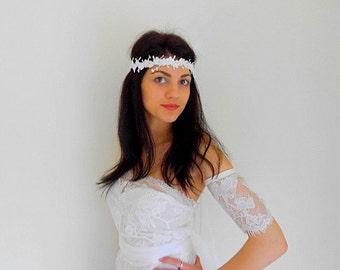 Wedding Headband. Embroidered bridal hair accessory. Spring wedding