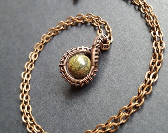 Green Unakite Stone, Wire Wrap Necklace, Copper Pendant,Handmade Jewelry, Wired Weaved, One of a kind, Unique Jewellery, Crystal Healing Art