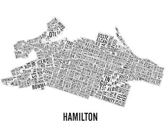 Hamilton Ontario Neighborhoods City Map - Hamilton Art