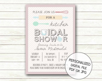 Modern Kitchen Bridal Shower Invitation Printable | Modern Wedding Shower Invite | Rolling Pin Whisk Spoon | Recipe Exchange Digital File