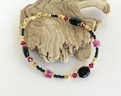 Swarovski Crystal Bracelet,Black & Gold Bracelet,Vintage Style Bracelet,Victorian Inspired Bracelet,Beaded Bracelet,Jet Bracelet,Butterflies