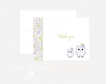 Purple Owl Thank You Cards - Set of 4