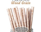 WOOD GRAIN Paper Straws, Party Decor, Cake Pops, Wood Straws, Lumberjack Party, Woodland Theme, Shower, Birthday Baby Shower, Wedding, Baby