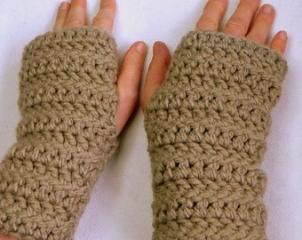 Beige Fingerless Gloves Beige Crocheted Fingerless Gloves Beige Texting Gloves Beige Chunky Yarn Gloves Hand Made