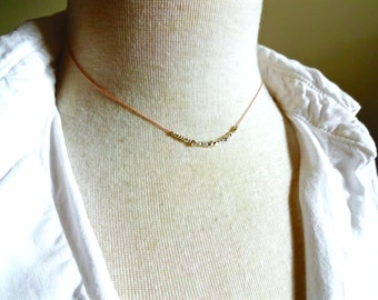 Small Karen Hill Tribe Sterling Silver Layered Bead Necklace; Color Pop Necklace; Deconstructed Minimalist Silver Jewelry; Unique Gift