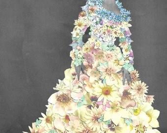 Wedding Dress Fashion Collage A6 Greetings Card