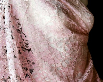 Baby Pink Corded Lace Fabric Blush Floral Embroidered Lace Half Yard for DIY Lingerie Wedding Gown Bridal Evening dress Flower Girl skirt