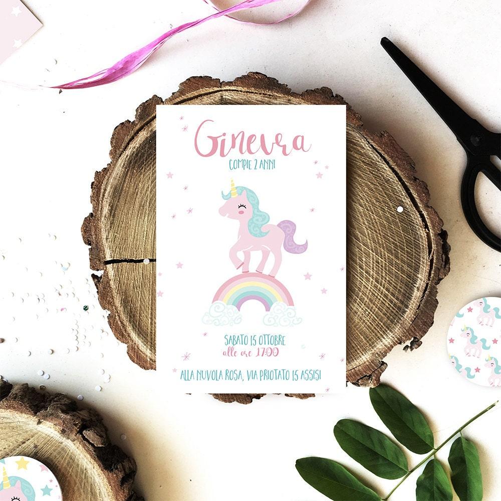 Matrimonio Tema Unicorno : Compleanno a tema unicorno invito in formato digitale pdf