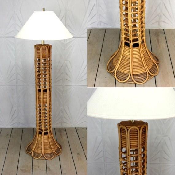 Vintage Rattan Floor Lamp Woven Bamboo Cane Wicker Bent Mid