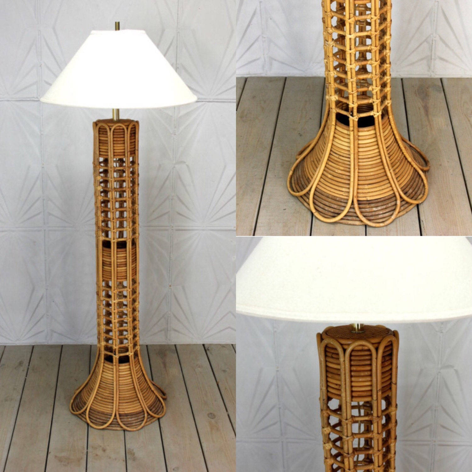 Vintage Rattan Floor Lamp Woven Bamboo Cane Wicker Bent Mid